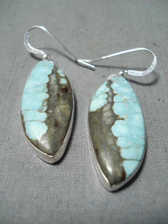 Astounding Navajo #8 Turquoise Mine Sterling Silver Earrings Native American