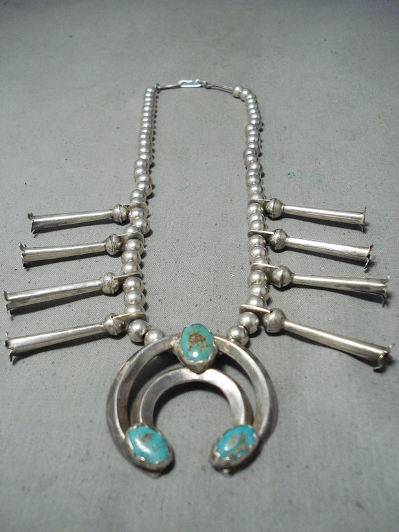 Old Vintage Native American Navajo Royston Turquoise Sterling Silver Squash Blossom Necklace