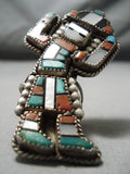 One Of The Biggest Vintage Native American Zuni Turquoise Sterling Silver Ring Old
