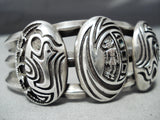 Intricate And Thick!! Vintage Hopi/ Native American Navajo Sterling Silver Bracelet Cuff