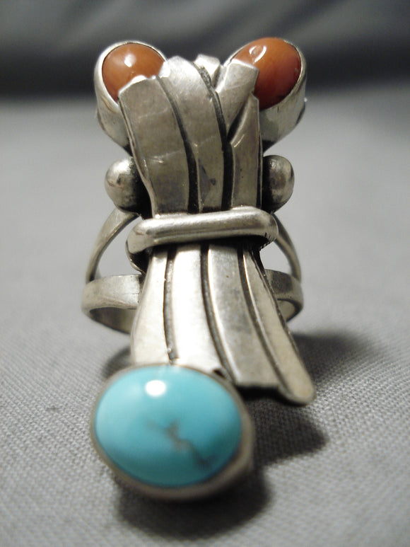 Unique! Museum Vintage Native American Navajo Blue Turquoise Coral Sterling Silver Ring Old