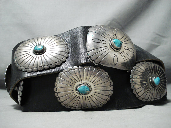 Heavy 500 Gram Vintage Native American Navajo Turquoise Sterling Silver Concho Belt Old