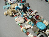 Rare Vintage Native American Navajo 243 Gram Royston Turquoise Charm Sterling Silver Necklace