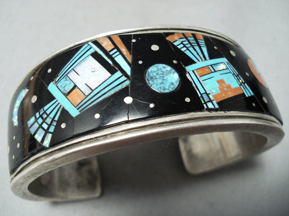 Very Rare Men's Larger Vintage Native American Navajo Turquoise Space Sterling Silver Bracelet
