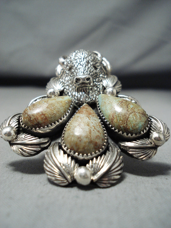 Heavy Big San Felipe Royston Turquoise Sterling Silver Buffalo Ring