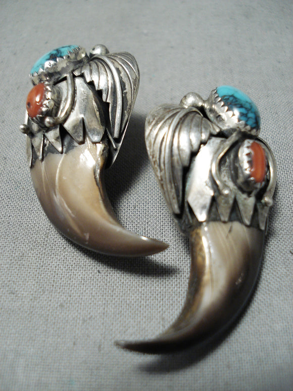 Authentic Bear Vintage Native American Navajo Turquoise Coral Sterling Silver Earrings