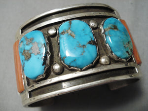 One Of The Best Vintage Native American Zuni Turquoise Coral Sterling Silver Bracelet Old