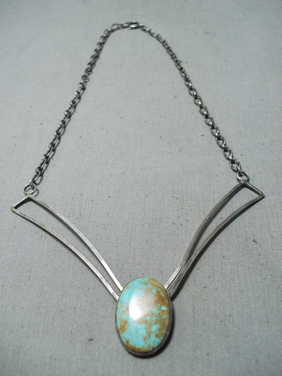 Unique Vintage Native American Navajo 8 Turquoise Sterling Silver Necklace