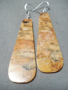 One Of The Biggest Coral Slab Native American Sterling Silver Earrings