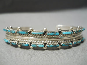 Exquisite Vintage Native American Navajo Turquoise Sterling Silver Bracelet Old