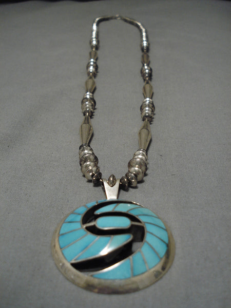 Important Vintage Zuni Isleta Native American Sterling Silver Necklace
