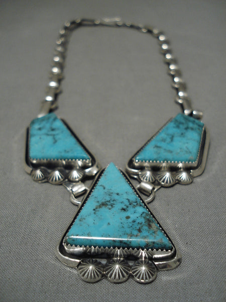 Important Jeanette Dale Blue Diamond Turquoise Native American Navajo Sterling Silver Necklace