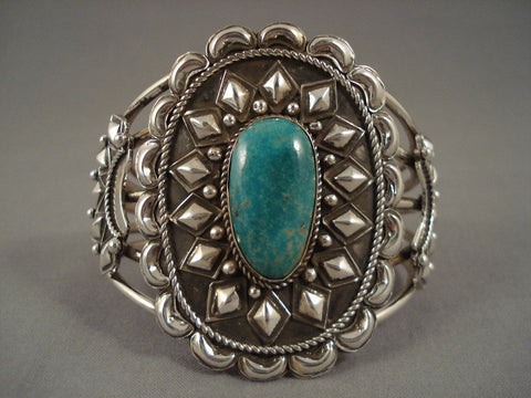 91 Gram Huge Vintage Navajo Turquoise Native American Jewelry Silver 'Repoussed Haven' Bracelet-Nativo Arts