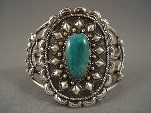 91 Gram Huge Vintage Navajo Turquoise Native American Jewelry Silver 'Repoussed Haven' Bracelet