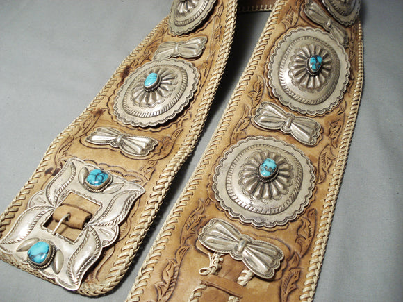 Most Grand Vintage Native American Navajo 4.25' Wide Turquoise Sterling Silver Concho Belt Old