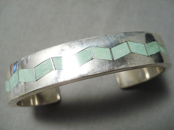 Newsworthy Vintage Native American Zuni Royston Turquoise Sterling Silver Bracelet