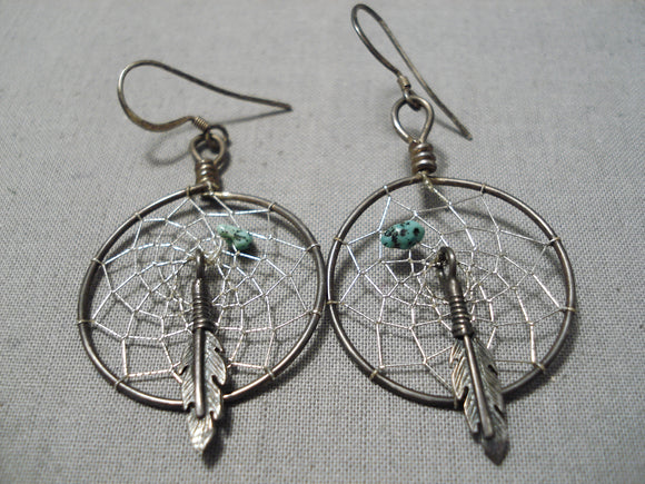 Amazing Native American Navajo Turquoise Sterling Silver Dream Catcher Earrings