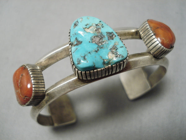 Amazing Vintage Navajo Native American Turquoise Coral Sterling Silver Bracelet
