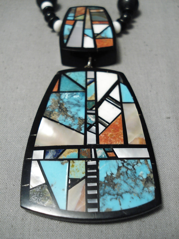 Native American Important Chris Nieto Santo Domingo Sterling Silver Turquoise Inlay Necklace