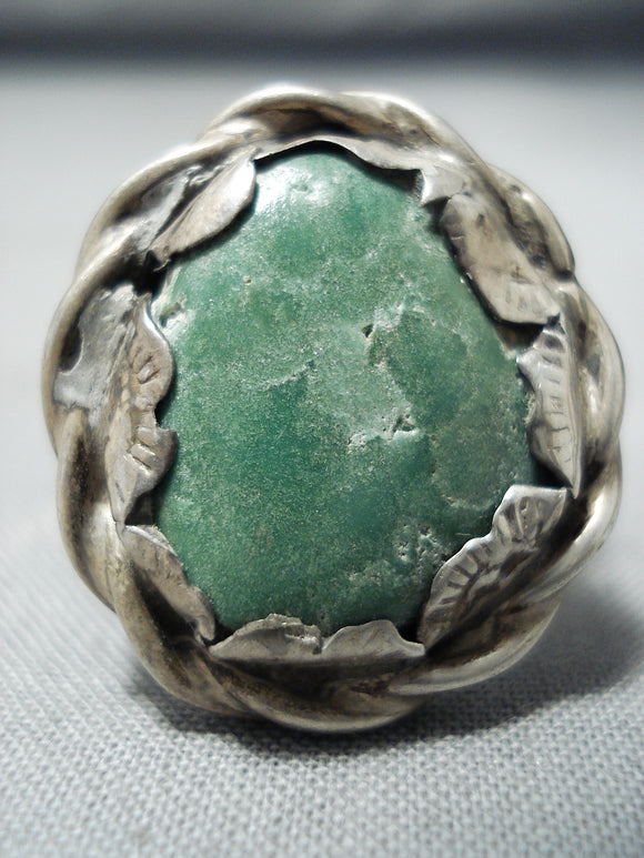 Chunky Vintage Native American Navajo Carico Lake Turquoise Sterling Silver Ring Old