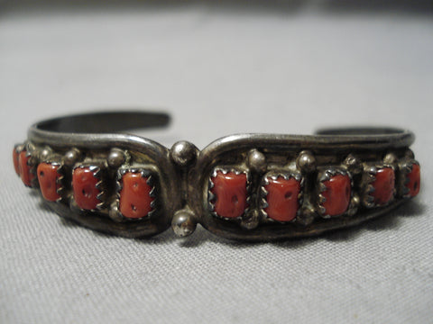Old Patina Vintage Native American Navajo Coral Sterling Silver Bracelet Cuff Old