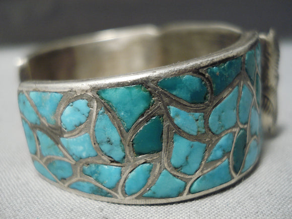 Earlier 1900's Vintage Native American Zuni Turquoise Sterling Silver Watch Bracelet Old