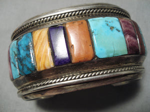 One Of Best Vintage Native American Navajo Turquoise Sterling Silver Row Inlay Bracelet Heavy