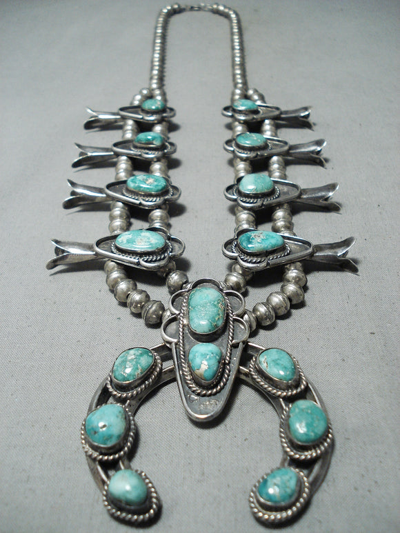 Carico Lake Turquoise Vintage Native American Navajo Sterling Silver Squash Blossom Necklace Old