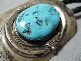 Impressive Vintage Native American Navajo Sleeping Beauty Turquoise Sterling Silver Bolo Old