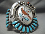 One Of Best Vintage Native American Zuni Coral Cardinal Sterling Silver Turquoise Bracelet Old