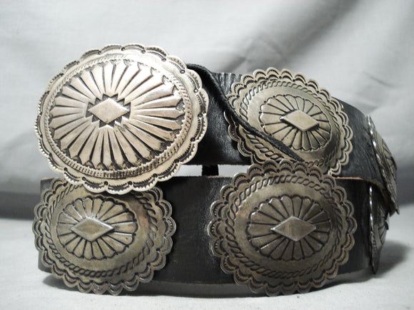 Heavy Hand Tooled Vintage Native American Navajo Sterling Silver Concho Belt