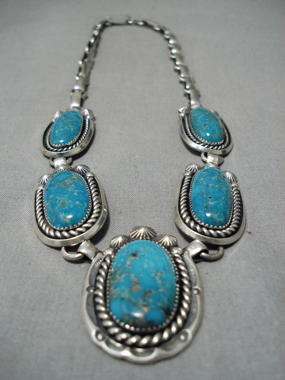 Amazing Vintage Native American Navajo Blue Gem Turquoise Sterling Silver Necklace Old