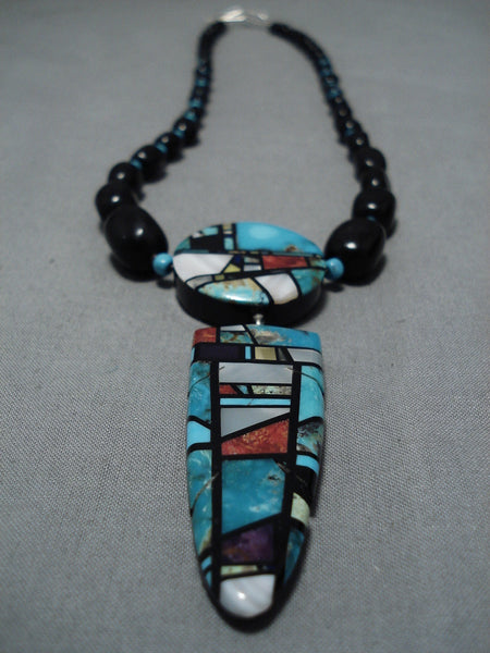 Native American Important Santo Domingo Turquoise Sterling Silver Necklace