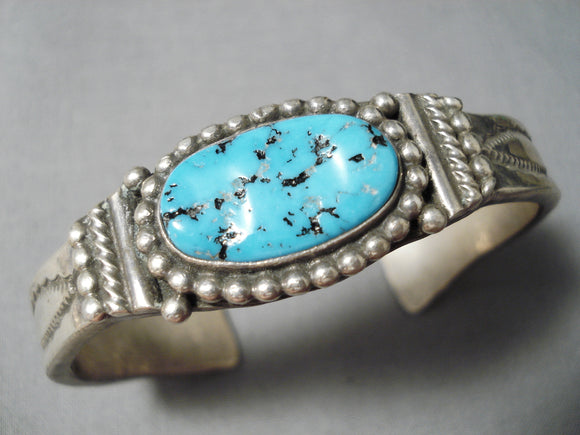 Incredible Vintage Native American Navajo Deep Blue Turquoise Sterling Silver Thick Bracelet Old