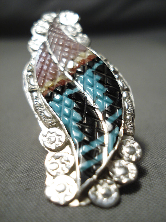 Detailed!! Huge Zuni Turquoise Sterling Silver Native American Ring