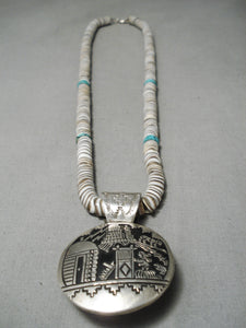 Important Vintage Native American Navajo 2 Sided Sterling Silver Turquoise Heishi Necklace Old
