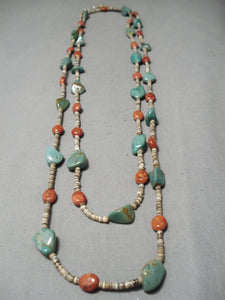 Native American Rare Vintage Santo Domingo Royston Turquoise Coral Sterling Silver Necklace