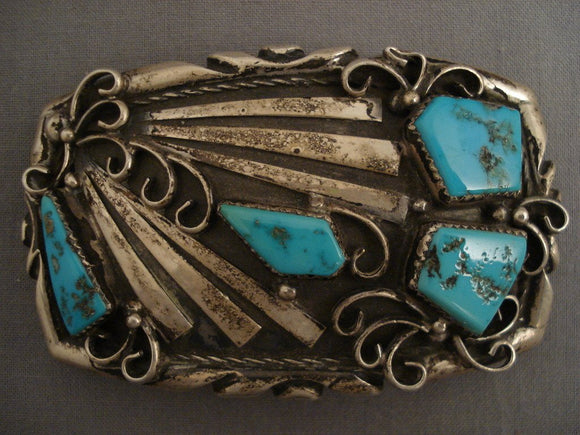 95 Gram Heavy Old Navajo Turquoise Native American Jewelry Silver Buckle-Nativo Arts