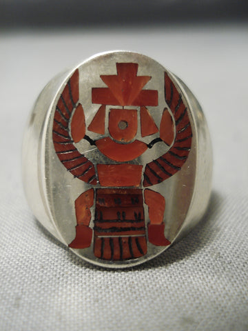 Important Zuni Inlay Master Native American Coral Sterling Silver Ring