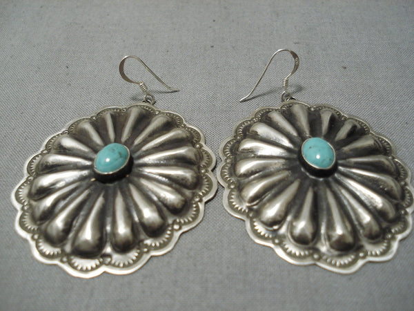 Amazing Vintage Native American Navajo Repoussed Sterling Silver Rose Lincoln Earrings