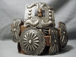 Important Vintage Native American Navajo Danny Martinez Sterling Silver Hand Tooled Concho Belt