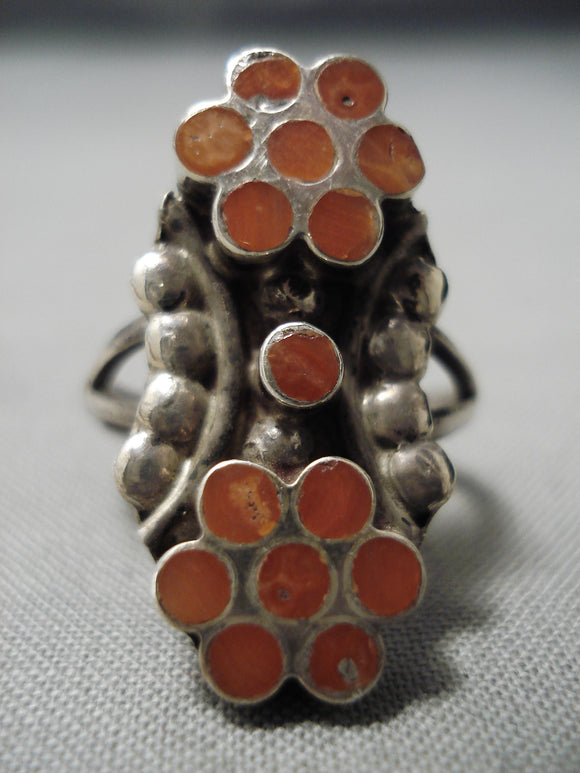 Important Vintage Native American Zuni Snake Eyes Coral Sterling Silver Dishta Ring Old