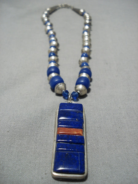 Important Hank Whitethorne Vintage Native American Navajo Lapis Sterling Silver Necklace Old