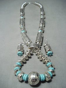 One Of The Biggest Native American Navajo Tubule Turquoise Sterling Silver Necklace