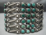 One Of The Best Vintage Native American Navajo Snake Eyes Turquoise Coin Silver Bracelet