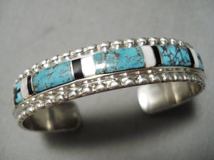 Important Vintage Native American Navajo Red Mountain Turquoise Sterling Silver Bracelet