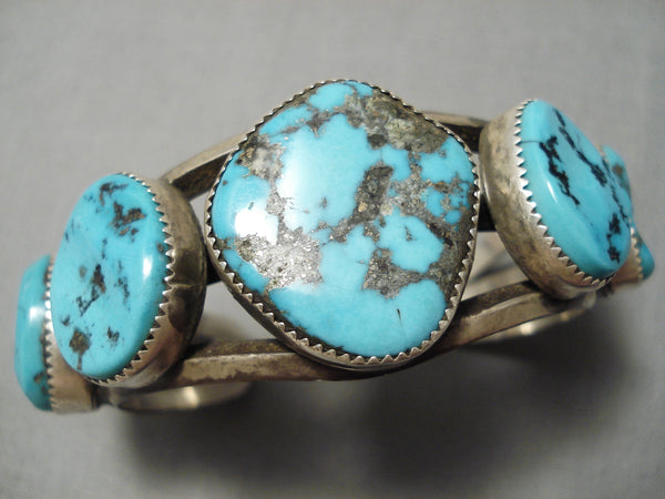 Museum Vintage Native American Navajo Persin Turquoise Sterling Silver Bracelet Old