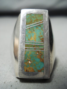 Outstanding Vintage Native American Navajo Royston Turquoise Inlay Sterling Silver Ring