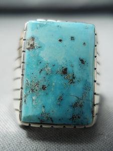 Marvelous Native American Navajo Kingman Turquoise Sterling Silver Ring