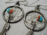 Beautiful Vintage Native American Navajo Turquoise Coral Sterling Silver Dreamcatcher Earrings
